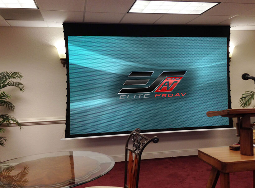 Evanesce Tab-Tension Series, In-ceiling motorized projector screen
