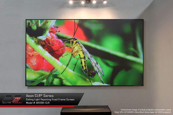 Aeon CLR®, Fixed frame projector screen, short throw projector screen, best projector screen for ambient light