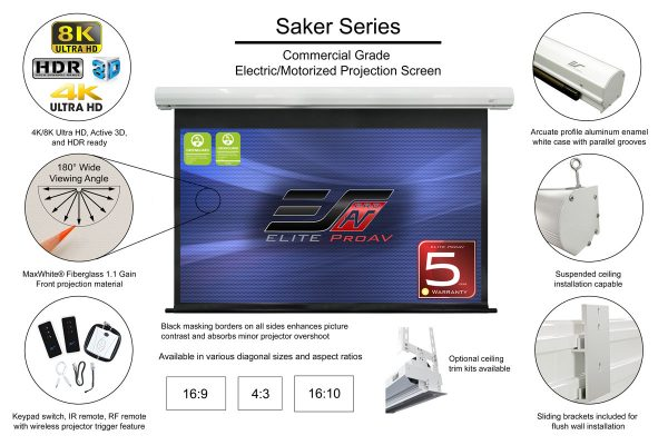 Saker Series, Fixed frame projector screen, short throw projector screen, best projector screen for ambient light