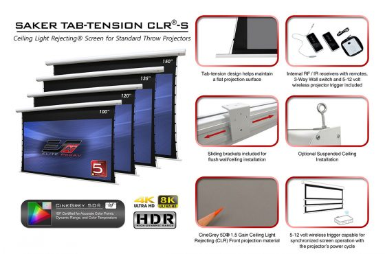 Elite ProAV's New Saker Tab-Tension CineGrey 5D® Ceiling Light / Ambient Light Rejecting Screen for Standard Throw Projectors