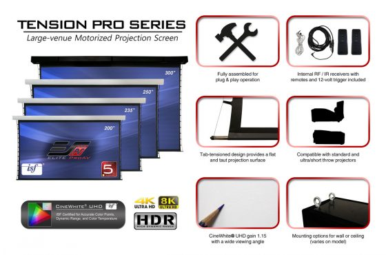 Elite ProAV Tension Pro Series (TP235XWH2) Large Venue Tab-Tension Electric Projection Screen at Triedstone Missionary Baptist Church in Carson, CA